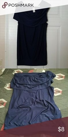 Draped Shoulder Blouse Navy blue draped shoulder blouse. This blouse can be worn with your shoulders exposed or covered with this versatile blouse. Tops Blouses