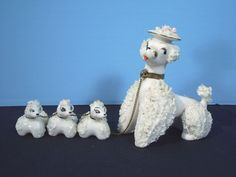 Poodle Figurines Mama and 3 Puppies Chained Spaghetti Fur White Vintage 1950s