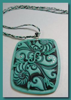 Black Agua Pendant     ---   Flickr Tags:    Polymer Clay Jewelry, Wearable Art, Fimo,  Sculpey, Premo, Handmade, Earrings, Necklace, Veldena Ladson,  Mokume Gane, Custom,  Designer,  Unique,  Colorful,  Gift, Beads,  Swarovski Crystals, silver, gold, wire, Kaleidoscope Cane, metal