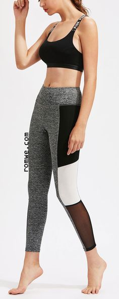 Mesh Insert Color Block Marled Knit Leggings Deportivas Mujer bb84449a4f52