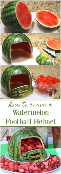 Spruce up your tailgate with this football helmet made from a watermelon! This recipe is perfect for game day! : Spruce up your tailgate with this football helmet made from a watermelon! This recipe is perfect for game day! Football Banquet, Football Party Foods, Football Tailgate, Tailgate Food, Football Food, Football Helmets, Football Parties, Tailgating, Super Football