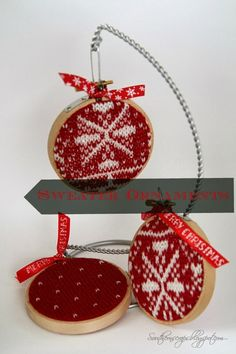 Southern Scraps : DIY hoop ornaments from an old sweater
