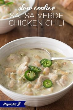 Looking for an easy weeknight dinner packed full of flavor? Look no further! This Slow Cooker Salsa Verde Chicken Chili recipe has just a few simple steps that yield one delicious dish. Serve with sour cream, cheese, and jalapeños for added zest. Use a Reynolds® Slow Cooker Liner for fast and easy cleanup in 8 seconds or less, guaranteed, with no soaking or scrubbing.