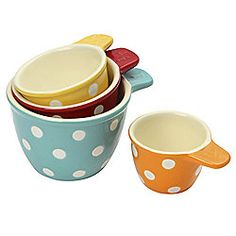 Dexam Polka Dot Stoneware Measuring Cups, Set of 4