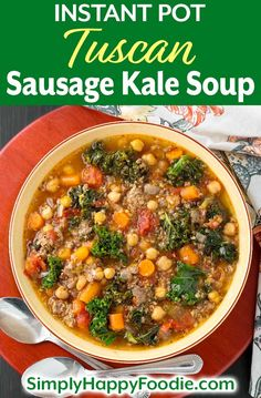 Instant Pot Tuscan Sausage Kale Soup is filling & healthy, with a delicious broth & lots of veggies. Pressure cooker Tuscan sausage kale soup is comforting! Kale And Bean Soup, Sausage And Kale Soup, Italian Sausage Soup, Chowder Recipes, Soup Recipes, Cooking Recipes, Healthy Recipes, Paleo Food, Healthy Soup
