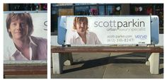 This Guy Spent The Last Month Dressing Up Like Local Realtors And Pasting Himself Over Their Bench Ads