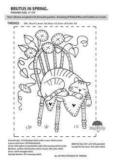 "FREE Red Brolly Cat Stitchery pattern: Catalicious B.O.M Quilt. ""Brutus in Spring"" Block"
