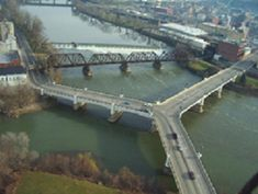 Zanesville Ohio is home to a famous Y-bridge.  The bridge is built at the intersection of the Muskingum and Licking Rivers, one part built to the middle of the river and the others forking to the left and right.