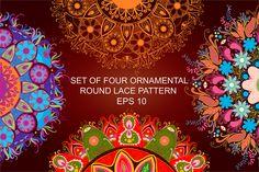 Set of four Ornamental round pattern by Smotrivnebo on Creative Market