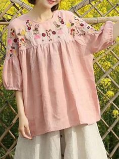 8bf92b6276 Buy Linen Tops For Women from VIVID LINEN at Stylewe. Online Shopping Shift  Floral Embroidered Linen Top