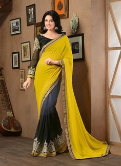 $44.32 Yellow Georgette Half and Half Party Wear Saree 56276