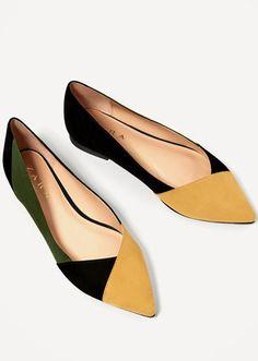 Shop @zaraofficial's latest spring-ready footwear trends via @STYLECASTER | Zara Tri-Color Ballerinas, $25.90