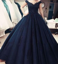 Charming Navy Blue Appliques Quinceanera Dresses, Formal Ball Gown Prom Dresses, Formal Gown - - Source by PurpleGlaceon Ball Gowns Evening, Women's Evening Dresses, Ball Gowns Prom, Ball Gown Dresses, Party Dresses, Occasion Dresses, Navy Prom Dresses, Quince Dresses, Formal Dresses
