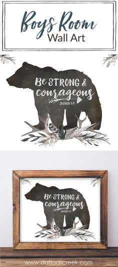 "Be Strong and Courageous Lettered Print - Add some encouragement to your little boy's walls with this woodland scripture print! A portion of Joshua 1:9 ""Be strong and courageous"" is paired with a bear silhouette and masculine watercolor greenery in gray tones. Perfect for a boys room or nursery! #MasculineBedding"