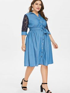 Product Code: 501053 Type: Plus Size Denim Dress Fabric Components: Polyester Color: Denim Blue Style: Casual Neckline: V Neck Details: Lace Sleeves, Botton Front Length: Mid-Long Sleeve Length: Mid-Long Belt: Yes Season: Summer Model is size 14 V Neck Midi Dress, Lace Dress, Lace Sleeves, Dresses With Sleeves, Sequin Evening Dresses, Denim And Lace, Patchwork Dress, Tiered Dress, Blue Fashion