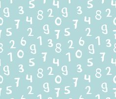 Back To School Numbers Math Theme For Kids Abstract Typography Text Print In Mint Blue Fabric