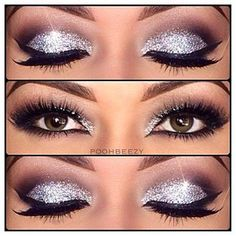Nighttime eye makeup.