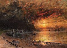 Adelsteen Normann (1848-1918), Soleil de Minuit dans un Paysage de Fjord.