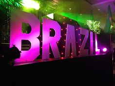 Giant Brazilian Letters for a Rio Carnival themed party or event
