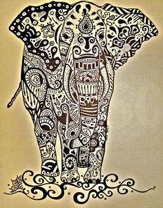 Black and white paisley elephant