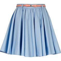 light blue skater skirt - mini skirts - skirts - women - River Island