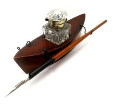 Rare Antique Mauchline Ware Novelty Boat Inkwell And Dip Pen ...