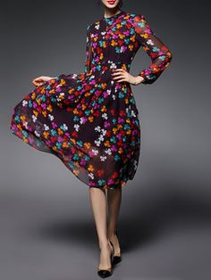 Black Floral-print Polyester Casual Midi Dress