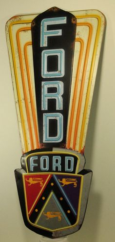 Ford Logo Embossed Metal Tin Sign Vintage Style Man Cave Decor Emblem Garage | eBay