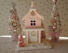 Shabby Chistmas House - Pink and Buttercream Lighted Cottage so BEAUTIFUL!!!