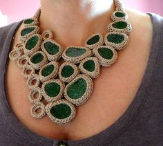 Beige necklace with 17 green sea glasses - crocheted - OOAK http://www.pinterest.com/sigiukas/crochet-jewelry-collars/