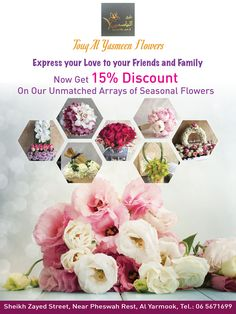 UAE:  Express your love to friends and family via our featured listed flower shop Touq Al Yasmeen Flowers and Chocolates​  As an EXCLUSIVE SPECIAL OFFER: Get 15% DISCOUNT on their seasonal flowers.  Call now to order: 06 5671699  Find them on our platform: http://connect.ae/f/touq-al-yasmeen-flowers:er5016162  #Flowers #FlowerShop #bouquets #wreaths #UAE #ConnectUAE