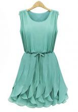 Green Sleeveless Ruffles Pleated Chiffon Dress...cute.