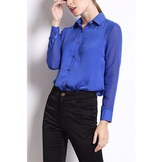 Yoins Yoins Blue Classic Collar Work Chiffon Shirt (1.490 RUB) ❤ liked on Polyvore featuring tops, blouses, blue, shirts & blouses, chiffon collared shirt, shirts & tops, blue chiffon shirt, collared shirt and blue chiffon blouse