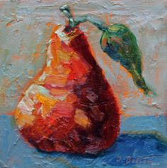 Red Yellow Pear Pear Painting Original Oil by ingridspaintings, $32.00