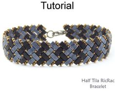 Bracelet Perles motif tutoriel - moitié Miyuki Tila Beads - Herringbone Stitch - motifs simples perles - demi Tila RicRac Bracelet #24436