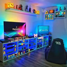 room design What Was Your First Playstation Game? & Which Upcoming Game's Are You Excited? room design What Was Your First Playstation Game? & Which Upcoming Game's Are You Excited? Boys Game Room, Boy Room, Microsoft Windows 10, Small Game Rooms, Gamer Bedroom, Geek Room, Party Set, Gaming Room Setup, Gaming Rooms