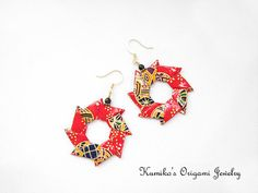 No.01911 Origami Wreath Earrings w/ plated 14K by KumikosOrigami, $17.50