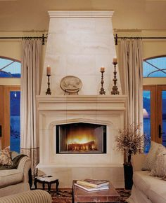 New Living Room With Fireplace Between Windows Ideas Stone Fireplace Mantel, Limestone Fireplace, Rock Fireplaces, Living Room With Fireplace, Fireplace Surrounds, Fireplace Design, New Living Room, Limestone Tile, Fireplace Ideas
