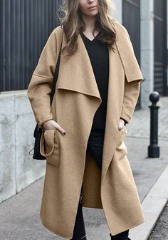 Trend Alert: Warm up with this awesomely long draped coat this fall. #shopalexanderdavid #shopad #coatfashion