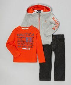 Look what I found on #zulily! Heather Gray & Orange Hoodie Set - Toddler & Boys by Nautica #zulilyfinds