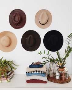 instagram @newdarlings - midcentury home - hat wall