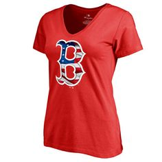 Women's Boston Red Sox Red Banner Wave Slim Fit T-Shirt