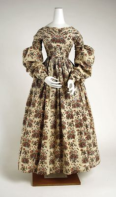 Ensemble: Dress 1837, American, Made of cotton