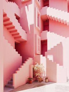 Muralla Roja, by Ricardo Bofill Taller de Arquitectura, in Calpe, Spain. - Muralla Roja, by Ricardo Bofill Taller de. Interior Architecture, Interior And Exterior, Stairs Architecture, Spanish Architecture, Interior Stairs, Interior Design, Ricardo Bofill, Tout Rose, Red Walls