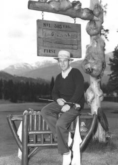 Bing Crosby golfing at the Jasper Park Lodge golf course.