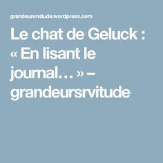 Le chat de Geluck : «En lisant le journal…» – grandeursrvitude
