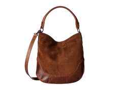 Frye Melissa Whipstitch Hobo Hobo Handbags Chestnut Suede/Antique Pull Up