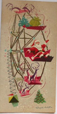 "Vintage Christmas card... Santa and his Reindeer Riding on a Ferris Wheel. "" Time Out"" from their Christmas Eve job of delivering presents. Even Santa's bag and a tree,are on the ride."