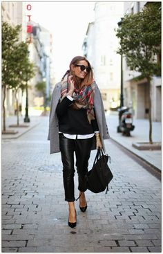 Fall / winter - street & chic style - black leather pants + black stilettos + white shirt + black sweater + gray coat