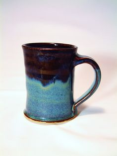 Blue rutile with Tenmoku gold dip on the rim, Fired to cone 6 ox, w/ 1 hr hold, reg cool